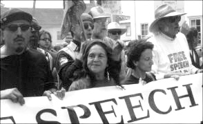 miguel-molina-dolores-huerta-lead-12000-in-free-kpfa-march-073099, Pacifica patrones reject peace, use police to sustain their power, Local News & Views