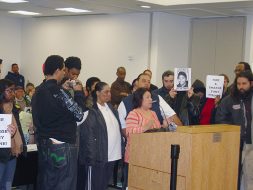 On April 9, No Justice No BART took control of the BART board meeting, with speakers expressing strong opposition and anger at BART's attempts to cover up the murder of Oscar Grant. Speaking here is Sophina Mesa, grandmother of Oscar's 4-year-old daughter. – Photo: Dave Id, Indybay