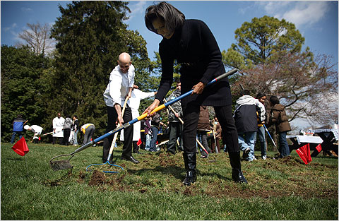 First Lady Michelle Obama, a class of fifth graders and Chef Sam Kass break ground for the White House Kitchen Garden on the South Lawn. – Photo: Todd Heisler, NY Times
