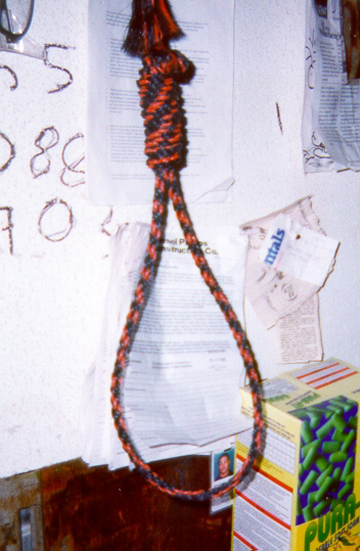 This noose, hung at Liberty Builders' jobsite at SFO in 1998, warned Blacks that they were banned from taxpayer-funded construction in San Francisco. The ban continues to this day.