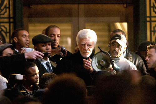 Dellums' reaction when white cops kill a young Black man: A very worried Mayor Ron Dellums is jammed up by angry young Oaklanders in front of City Hall on Jan. 7, during the first rebellion protesting the New Year's execution of Oscar Grant. He had been silent that first week. – Photo: Thomas Hawk