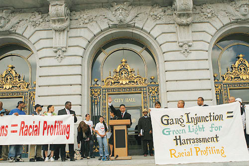 San Francisco Public Defender Jeff Adachi led a rally on the steps of City Hall July 12, 2007, to oppose the City Attorney's proposed gang injunctions. Adachi has long been an outstanding defender and supporter of the City's beleaguered Black community. Photo: John Han, Fog City Journal