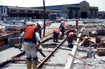 Many of you have never seen an all-Black construction crew since Blacks were locked out of construction in San Francisco in 1998, but if you've ridden light rail on the Embarcadero, where this Liberty Builders crew did the concrete work, you've enjoyed their expertise. Now it's time to bring Black crews back by fighting for stimulus funded jobs!