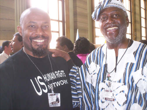 Brother Kali Akuno, one of the panelists for the May 14 report back, with Brother Jahahara at the U.N. Durban Review Conference in Geneva – Photo: Jahahara Alkebulan-Ma'at