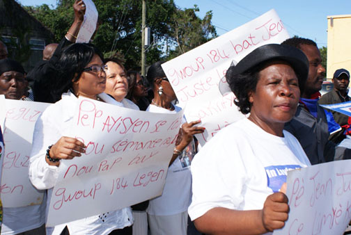 fr-gerard-jean-juste-funeral-walk-protest-catholic-church-coup-leaders-of-crucifying-jj-060609-by-norluck-dorange, Mourners at Father Gerard Jean-Juste's funeral accuse Catholic church, Haitian leaders of complicity in his death, World News & Views