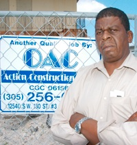 Activist Ken Knight, pictured at the site of the historic Hampton House, is fighting to get more opportunities for Black contractors and workers in Miami. – Photo: Elgin Jones, South Florida Times