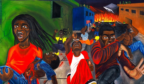 malik-seneferu-e28098free-haitie28099-45e2809dx72e2809d-acrylic-on-raw-canvas-1994-web1, The blood pours: UN soldiers shoot at Haitian mourners outside church funeral of Father Jean Juste in Haiti, World News & Views