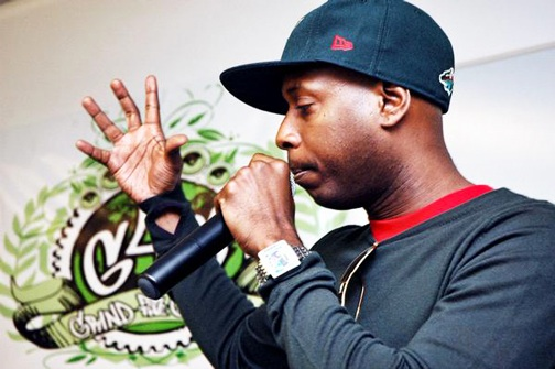 Rapper Talib Kweli speaking at last year's Grind for the Green.