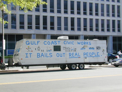 """""""With a FEMA trailer parked across the street, a coalition of Gulf Coast activists stood outside the Federal Emergency Management Agency headquarters Monday to mark the start of hurricane season, to demand Hurricane Katrina rebuilding and to protest the latest deadline for eviction of about 5,000 residents from FEMA trailers,"""" wrote McClatchy reporter Maria Recio on June 1. """"The people of the Gulf Coast don't want FEMA trailers,"""" Michele Roberts, of the Advocates for Environmental Human Rights, told the crowd, Recio reported. """"They want to rebuild homes."""" Two days later, on June 3, the Obama administration announced that the FEMA trailers will be sold to their residents for $1-$5 each. That's a stopgap solution, though. What's needed now is prompt passage of the Gulf Coast Civic Works Act now before Congress."""