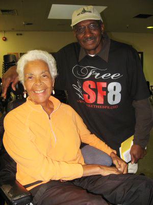 Black Panther veterans Kiilu Nyasha and Richard O'Neal, the first of the SF 8 whose charges were dropped – back on Feb. 7, 2008 – enjoy the fellowship at Ella Hill Hutch Tuesday. – Photo: Wanda Sabir