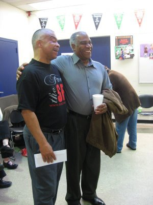 Along with Pierre Labossiere (right), co-founder of the Haiti Action Committee, Francisco Torres, the only one of the SF 8 whose charges are not yet resolved, nevertheless shared the joy and relief of his comrades whose charges had been dropped. – Photo: Wanda Sabir