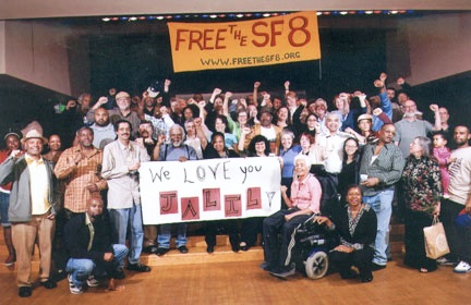 """""""We love you, Jalil,"""" said the crowd of SF 8 defendants and supporters celebrating on Sept. 23, 2007, the release on bail of six of the brothers, while Jalil Muntaqim and Herman Bell had to stay behind, still political prisoners serving over three decades as two of the New York 3. A similar photo with a banner for Herman was taken that night."""