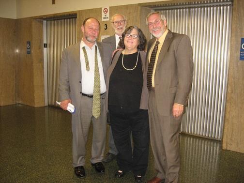 At the hearing Monday, June 29, were some of the lawyers for the San Francisco 8: Stuart Hanlon, Dennis Cunningham, Elizabeth Fink and Chuck Bourdon. – Photo: Wanda Sabir