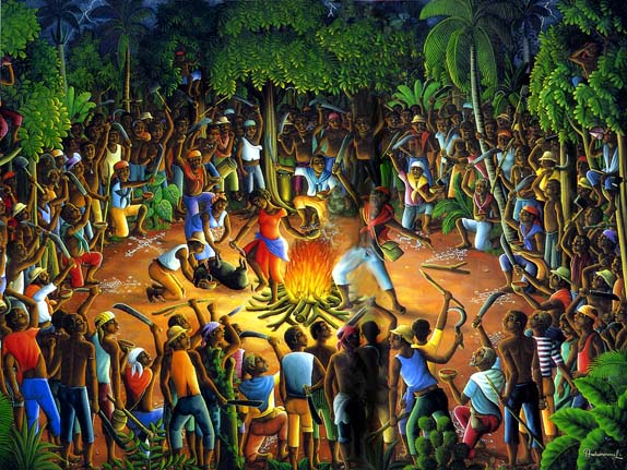 """Aug. 23 is the International Day for the Remembrance of the Slave Trade and its Abolition, commemorating the rebellion of enslaved Africans that began on the night of Aug. 22-23, 1791, in Bwa Kayiman, depicted in this painting, in the north of the then French colony of Santo Domingo, now Haiti, and became the only successful slave rebellion in history. To learn more, read UNESCO's """"Slave Voyages: The Transatlantic Trade in Enslaved Africans,"""" http://unesdoc.unesco.org/images/0012/001286/128631eo.pdf."""