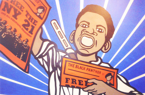"Emory Douglas' ""Free the NY 21"" from The Black Panther newspaper is one of his many great works on display at the New Museum in New York City."