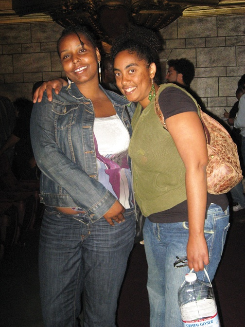 Aug. 20 was chosen as the date to kick off Cynthia McKinney's Triumph Tour to commemorate the first anniversary of the police beating inside KPFA studios of Nadra Foster, left, shown here with her friend Alexina at the Grand Lake Theater, where Cynthia's tour began. – Photo: Wanda Sabir