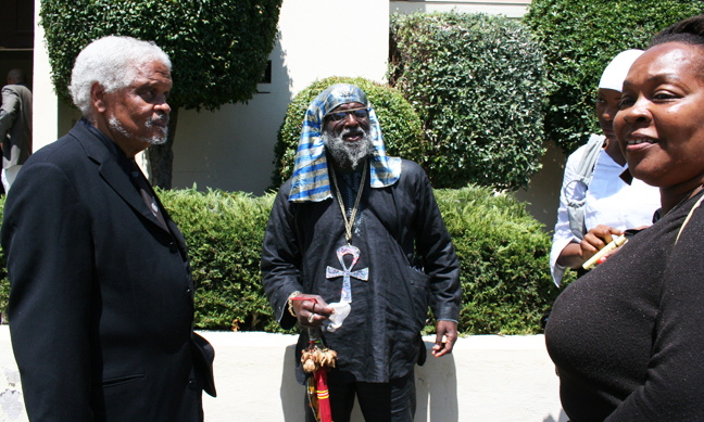 At Chauncey Bailey's funeral Aug. 8, 2007, are Ishmael Reed, Tehuti and Ida McCray. – Photo: Minister of Information JR