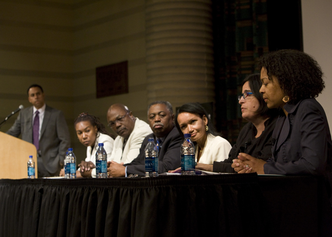 Oncologist Dr. Lisa Newman, third from right, participates in a panel discussing Black in American 2, the CNN series that features her work.