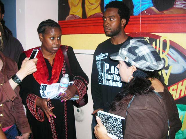 After speaking at the Lunacy Theater at an event that the Poor News Network staff helped to organize, former Congresswoman Cynthia McKinney is interviewed by writer Jasmine Hain and her mother, Vivian Hain, for PNN TV in Poor's office above the theater. – Photo: Poor News Network