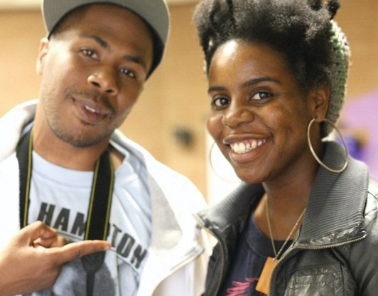 """Minister of Information JR and his partner in filmmaking Angela Carroll presented their flick, """"Operation Small Axe,"""" at the 43rd reunion of the Black Panther Party at Laney College, on Oct. 24. – Photo: Malaika Kambon"""