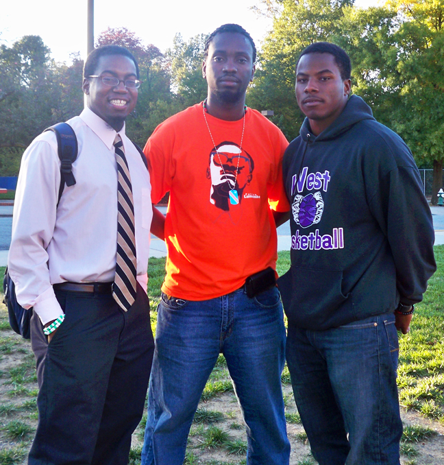 Math student Darius Pandy (left) and civil engineering students Kambale Musavuli (center) and Carlyle Phillips (right) are breaking the silence in Greensboro, North Carolina, on the historic campus of North Carolina A&T State University.