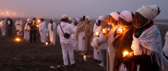 The annual Maafa Ritual will be held Oct. 11 at sunrise at Ocean Beach in San Francisco. This photo was taken of Maafa in 2006. – Photo: TaSin Sabir