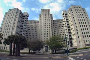 Doors remain closed at Charity Hospital in New Orleans.