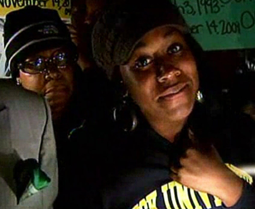 "Geoffrea Morris, Leonard Bradley's sister, told KTVU at a vigil in Richmond Monday: ""'He was unarmed,' she said, 'So I'm saying, if you're running away, you are not causing any imminent danger to the police department.' … Through tears, Bradley's sister had a message for the police officers. 'You imagine yourself seeing your 16-year-old brother, laying down in a field, and zipped up in a body bag, and tell me how you feel,' she said."" – Video frame: KTVU"