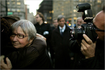 Lynne Stewart hugs a supporter as she prepares to go to prison to begin serving a 28-month sentence for relaying a message from her client, an accused terrorist, to a reporter.