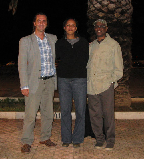 Italian human rights activist Manfred Bergmann, left, facilitated this investigatory trip for Nunu Kidane and Gerald Lenoir, right.