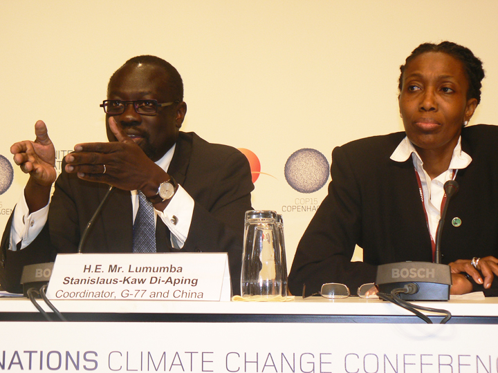 Lumumba Stanislaus-Kaw Di-Aping of Sudan, coordinator of the G77, and Dessima Williams of Grenada, chairperson of the Alliance of Small Island States (AOSIS), have emerged as major advocates for the poor people and nations hit first and hardest by climate change. – Photo: Nasseem Ackbarally, IPS