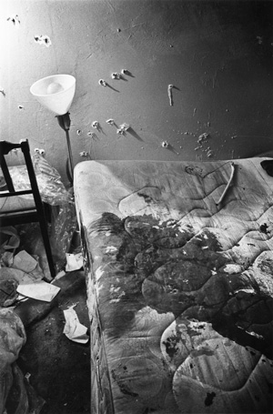 The cops stood over Chairman Fred Hampton as he lay sleeping and put two bullets in his brain at close range. This is Chairman Fred's bed after his murder. – Photo: Paul Sequeira