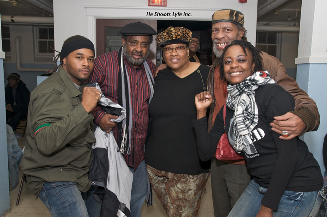 The Chicago based poet Phenom, Umar Bin Hasan of the Last Poets, former Black Panther Akua Njeri, the widow of Chairman Fred, Abiodun Oyewole of the Last Poets, and Chicago based poet K Love all participated in International Revolutionary Day in commemoration of the assassination and revolutionary lives of Black Panther Deputy Chairman Fred Hampton and Defense Captain Mark Clark, who were murdered by government agents on Dec. 4, 1969, on the West side of Chicago. – Photo: He Shoots Lyfe Inc.
