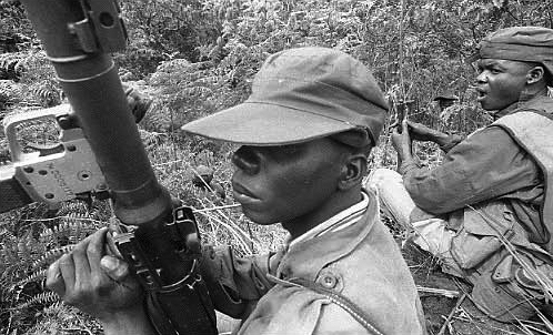 Armed Forces of the Democratic Republic of Congo in joint FARDC operations with United Nations (MONUC) troops in South Kivu in June 2005. - Photo Keith Harmon Snow