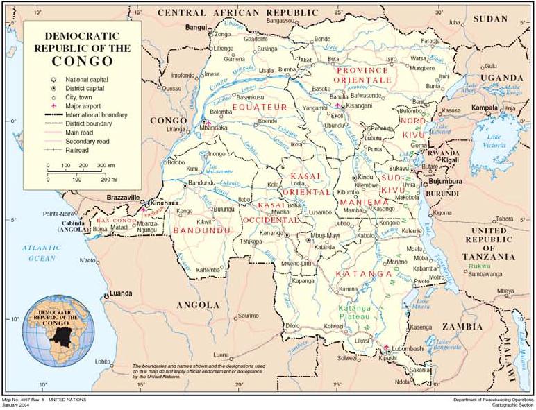 Democratic Republic of Congo, UN map dated January 2004