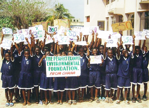 The message of 350.org, that the level of CO2, or carbon dioxide, in our atmosphere, now at 387 parts per million (ppm), must be reduced to 350 ppm to sustain human life, has spread around the world – here to these school children in rural Ghana. The planetary day of action organized by the 350 movement sparked 5,281 demonstrations worldwide on Oct. 24, and the candlelight vigil on Dec. 12 in Copenhagen drew 100,000, according to the official count.