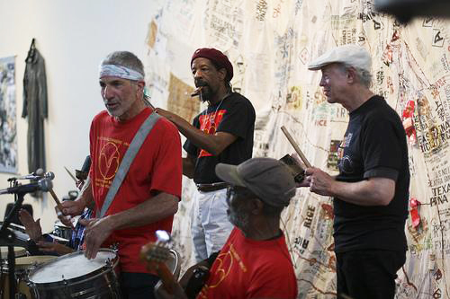 The Troublemakers Union – Adam Raskin, Akinyele Sadiq, Dartanyan Brown and Bill Crossman – performs at the San Francisco Neighborhood Arts Program's 40th Anniversary Bash on May 3, 2008.