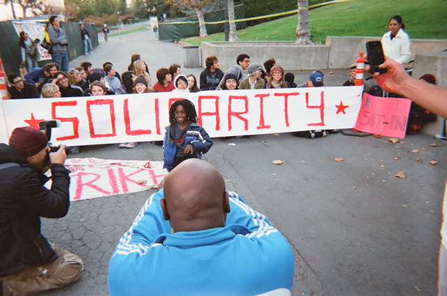 UC-Berkeley-student-strike-Our-struggle-is-for-you-112109-by-Dave-Id-Indybay, Students protest fee hikes: an interview wit' journalist Dave Id of Indy Bay Media, Local News & Views