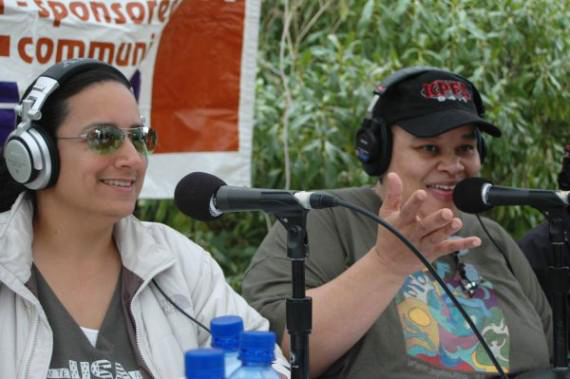 Victoria Z and Andrea Lewis broadcast live on KPFA from the 2007 Power to the Peaceful concert.