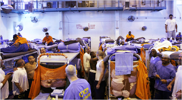 Prison-overcrowding-Lancaster-4600-double-capacity-150-in-gym-0310-by-Ann-Johansson-NYT, The new Jim Crow: How the war on drugs gave birth to a permanent American undercaste, Behind Enemy Lines