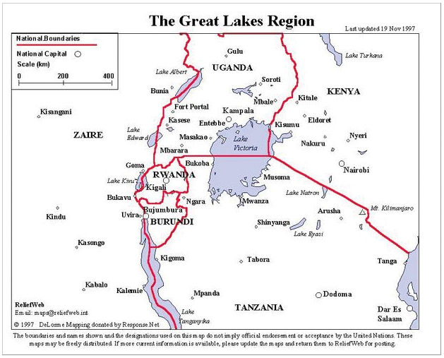 Great Lakes Region In Africa. This map of the Great Lakes
