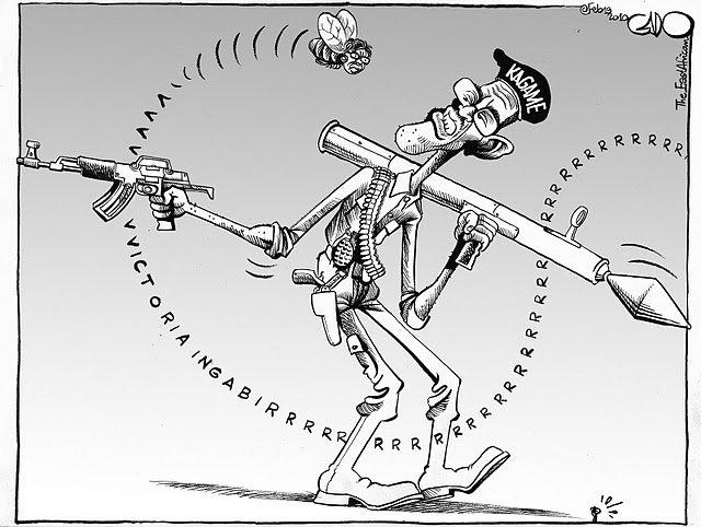Ingabire-buzzing-Kagame-cartoon-0410, Lawsuit alleges Rwandan President Kagame's guilt in Rwanda Genocide and Congo War, World News & Views