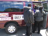 "APRI's infamous ""Early Voting"" van is used, according to many reports over the years, to coerce public housing residents into going to City Hall to vote according to APRI's instructions. In this photo, taken May 29, 2008, APRI was helping Lennar get out the vote for Proposition G to permit Lennar to develop a huge swath of land in Bayview Hunters Point and against Proposition F, a grassroots initiative that would have required Lennar to make half the homes it proposes to build affordable to people currently living in the neighborhood. By spending over $5 million on the June 3 election, Lennar succeeded in winning passage of Prop G and defeating Prop F."