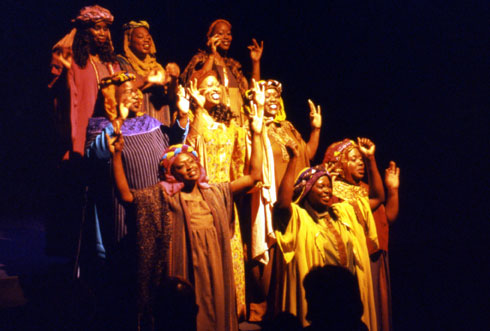 """San Francisco's Lorraine Hansberry Theatre welcomes back Arvis Strickling-Jones (front row center) as musical director after a four-year hiatus, to headline its 10th annual production of """"Black Nativity: A Gospel Celebration of Christmas,"""" directed by Stanley E. Williams."""