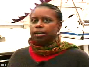 """CNN's caption for this frame from its reporter's video: """"'Our mission was a peaceful mission,' says former U.S. Rep. Cynthia McKinney, who was aboard the Dignity."""""""