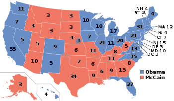 Map of electoral college votes in the 2008 presidential election, in which California's 55 votes, more than any other state's, went to Barack Obama.