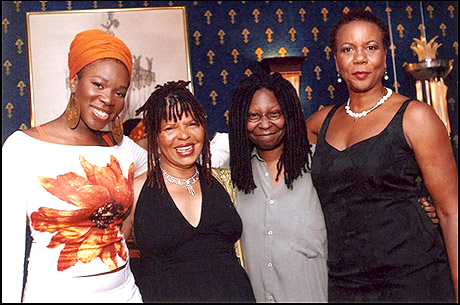 """Preparing for the eagerly awaited East Coast revival of """"colored girls"""" on Broadway last summer – a revival that had to be postponed – are two-time Grammy winner Idia.Arie, who was to make her Broadway debut in the production; playwright Ntozake Shange, who updated the script; Whoopi Goldberg, producer; and Shirley Jo Finney, director. Come to the West Coast revival at the Black Repertory Theatre this Saturday for the 2:30 matinee, a BENEFIT for the BAY VIEW newspaper."""