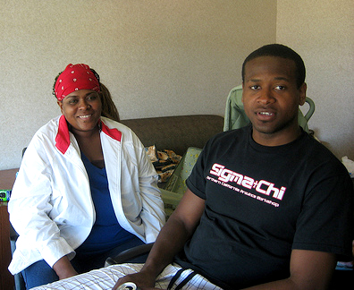Gregory Johnson Jr. and his mother, Rev. Denise Johnson, enjoy happier days together last August.