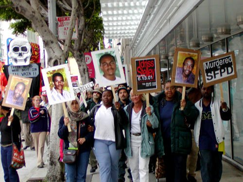 Families victimized by police and their allies march to commemorate lives stolen by law enforcement, on June 13, 2002, the first anniversary of the SFPD assassination of Idriss Stelley, gunned down inside the Metreon Theatre in downtown San Francisco.