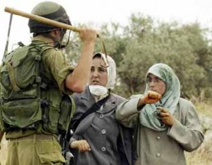 israeli-soldier-threatens-farm-women-v-olive-tree-uprooting-300x233, Dispatches from Donna in Gaza, World News & Views